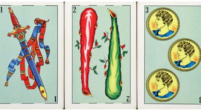 Baraja Azteca: 1 Espada, 2 Bastos, & 3 Oros.