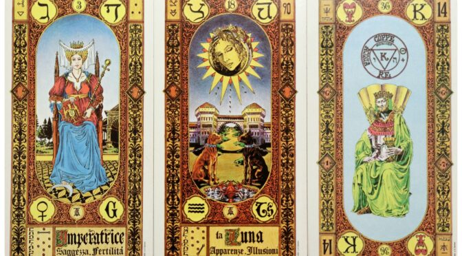 Stairs of Gold: The Empress [III], The Moon [XVIII], & King of Cups. ©US Games Systems.