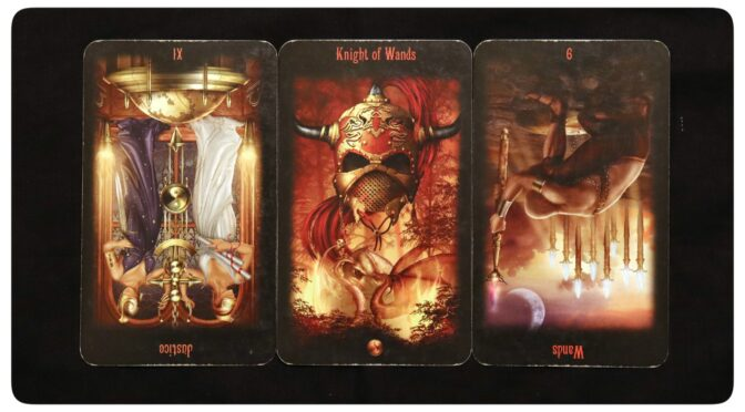 Legacy of the Divine: Justice [XI] (reversed), Knight of Wands, & 9 of Wands (reversed). ©Llewellyn Worldwide.