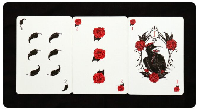 Corvid Romantic Playing Cards: 6 of Feathers, 3 of Roses, & Jack of Roses. ©Megan Weber.