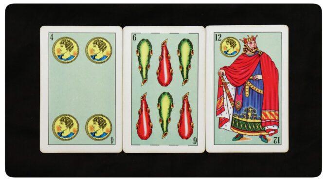 Baraja Azteca: 4 Oros, 6 Bastos, & 12 Oros.