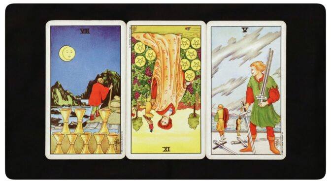 8 of Cups, 9 of Pentacles (reversed), & 5 of Swords. ©US Games Systems, Inc.