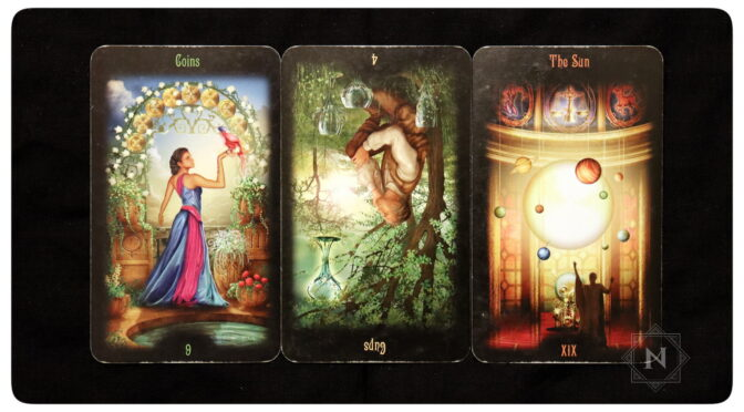 Legacy of the Divine: 9 of Coins; 4 of Cups, reversed; & The Sun - XIX. ©Llewellyn Worldwide.