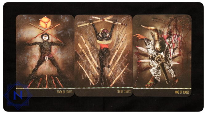 Dust II Onyx: Seven of Staffs, Ten of Staffs, & Nine of Blades. ©Courtney Alexander.
